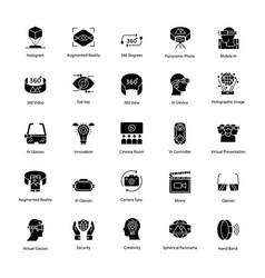 virtual reality glyph icons set vector image