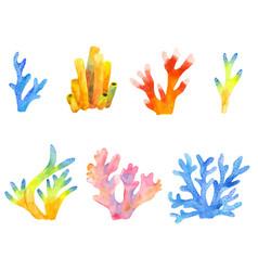 watercolor set coral reefs clipart vector image