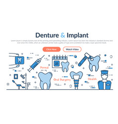 web site header - denture and implant vector image