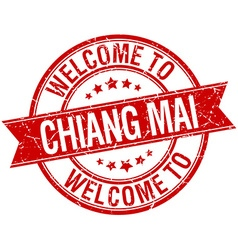 Welcome to Chiang mai red round ribbon stamp vector