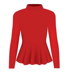 Women red blouse long neck vector