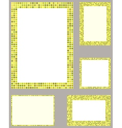 Yellow pixel mosaic page border template set vector