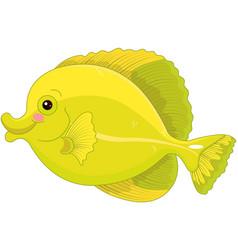 Yellow tang fish vector