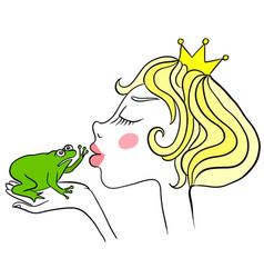 young princess kisses unhappy green frog frog vector image
