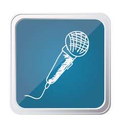 button of microphone with background blue and hand vector image