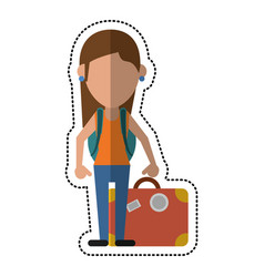 cartoon woman traveling hat and suitcase vector image vector image