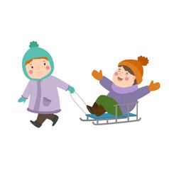 kids winter christmas games playground children vector image