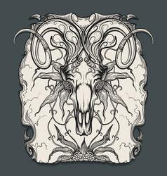 ram skull engraving vector image vector image