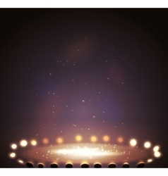 Stage with lights shine and spotlights vector image