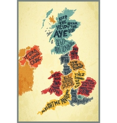 United Kingdom typography accents map vector image