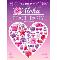Beach party invitation in red and pink colors vector image