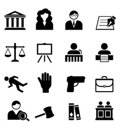 law legal justice icon set vector image