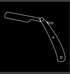 straight razor white color path icon vector image vector image