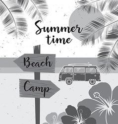 Summer time summer surf camp retro banner Surfing vector image