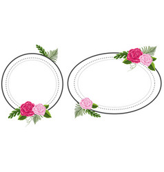 two flower frames with pink roses vector image vector image