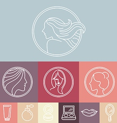 womans faces on circle emblems vector image vector image
