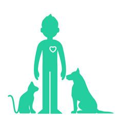 animals help man vector image vector image