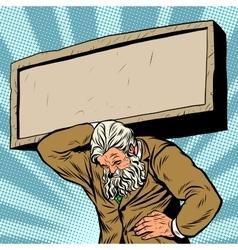 Antique atlas stone tablet strong man businessman vector