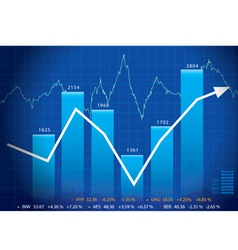Business graph with arrow showing profits and gain vector image vector image
