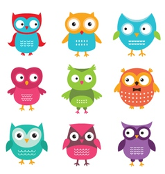 Owls set vector image vector image