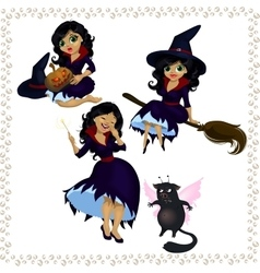 Pretty cartoon witch with imp isolated on white vector image