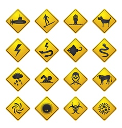 Warning Signs for dangers in sea and rivers vector image