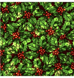 Christmas Pattern With Holly vector image