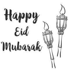 Happy eid mubarak theme design greeting card vector