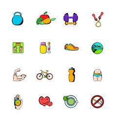 healthy lifestyle icons set cartoon vector image vector image