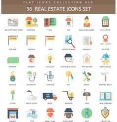 real estates color flat icon set Elegant vector image vector image