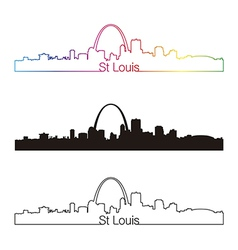 St Louis skyline linear style with rainbow vector image