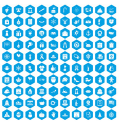 100 national holiday icons set blue vector