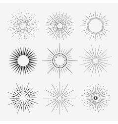 9 art deco vintage sunbursts collection with vector