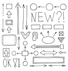 A set hand-drawn arrows and schemes vector