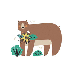 adorable cartoon bear character with flowers vector image