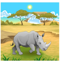 African landscape with rhinoceros vector