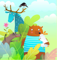 animals friends bear moose rabbit and wolf vector image
