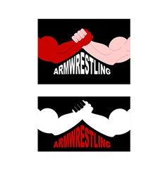 Armwrestling logo Two strong hands vector