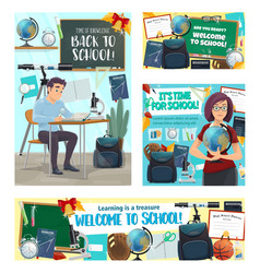 back to school banners with supplies for education vector image