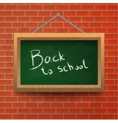 Back to school chalkboard on a brick wall vector