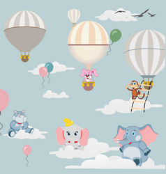 balloons in sky and drawings animals vector image