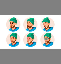 Bearded man avatar character business vector