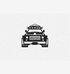 Black silhouette off road car designed vector