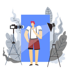 Blogger and internet profession or hobby man and vector
