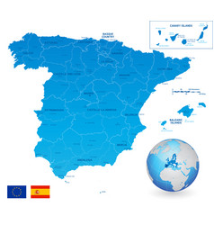 Blue administrative map spain vector