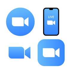 blue camera icon - zoom app logo - live vector image