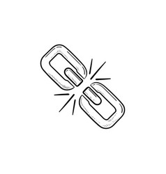 Broken chain link hand drawn outline doodle icon vector