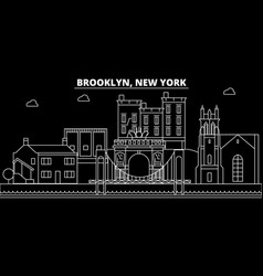 brooklyn silhouette skyline usa - brooklyn vector image