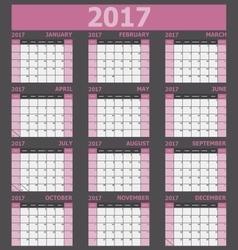 Calendar 2017 week starts on Sunday pink tone vector image