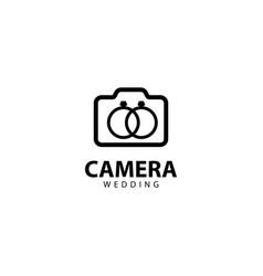 Camera wedding logo outline monoline vector